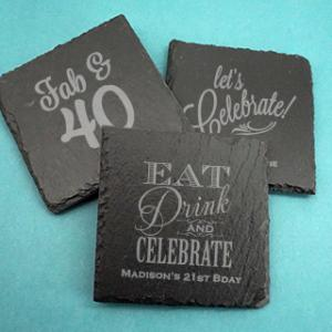 Adult Birthday Square Slate Coasters image