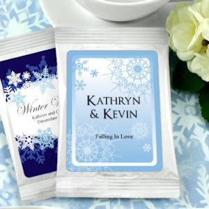 Winter Wedding Personalized Coffee Favors - White image