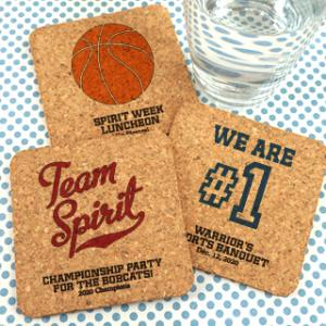 Sports Themed Personalized Square Cork Coasters image
