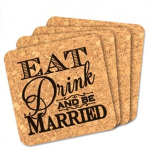 Eat Drink and Be Married Square Cork Coaster Wedding Favors image