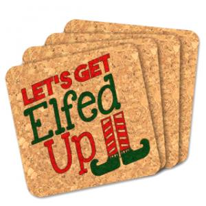 Let's Get Elfed Up Square Cork Coasters (Set of 4) image