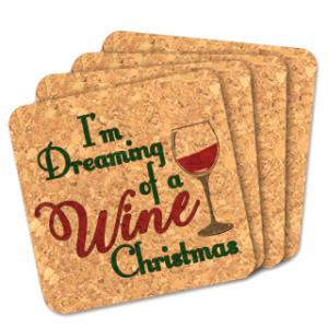 I'm Dreaming Of A Wine Christmas Square Cork Coasters image