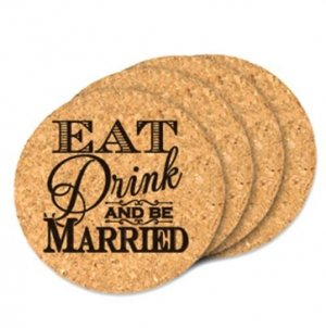 Eat Drink and Be Married Round Cork Coasters (Set of 4) image