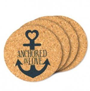 Anchored In Love Round Cork Coaster Wedding Favors- Set of 4 image