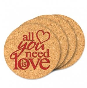 All You Need Is Love Round Cork Coaster Wedding Favors image