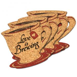 Love is Brewing Tea Cup Cork Coaster Wedding Favors (Set of  image