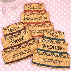 Personalized Wedding Cake Cork Coaster image
