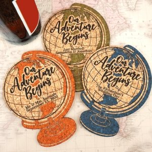 World Globe Personalized Cork Coaster image