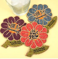Personalized Spring Flower Cork Coaster image