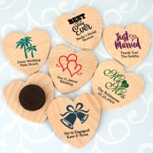 Personalized Wooden Heart Magnets image