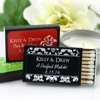 Personalized Black Box Matchbox Wedding Favors (Set of 50)