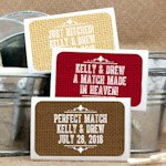 Personalized Rustic Matchbox Wedding Favors (Set of 50)