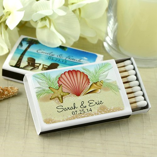 Personalized Beach Wedding Gifts: Personalized Beach Wedding Favor Matches (Set Of 50