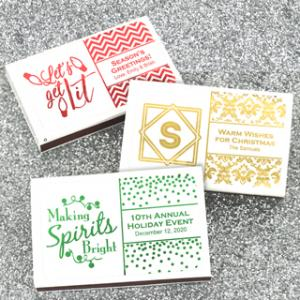 Holiday Metallic Foil Personalized Matches - Set of 50 image