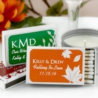 Personalized Matchbox Fall Wedding Favors (Set of 50)