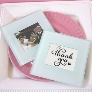 Classic Glass Photo Coaster Wedding Favors image