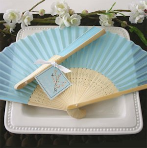 Hand Held Folding Fans - Blue Silk image