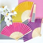 Hand Held Folding Silk Fan Favors (12 Colors)