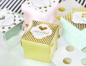 Personalized Metallic Foil Favor Wedding Mini Cube Boxes (se image