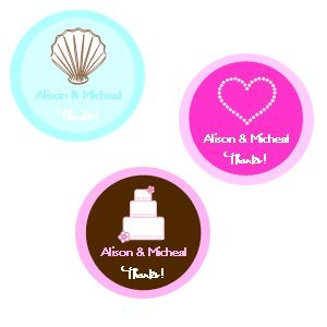 Medium Round Personalized Stickers for Weddings (Set of 35) image
