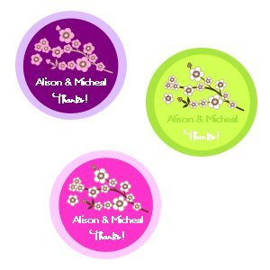 Medium Round Cherry Blossom Thank You Labels (Set of 35) image