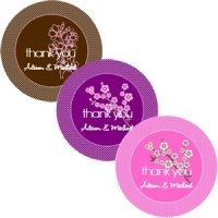 Cherry Blossom Round Labels for Wedding Favors (Set of 12)