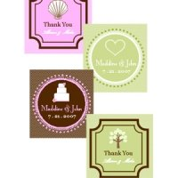 Square Personalized Wedding Favor Tags & Labels (Set of 20)