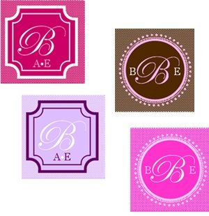 Square Monogram Favor Tags and Labels (Set of 20) image