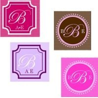 Square Monogram Favor Tags and Labels (Set of 20)