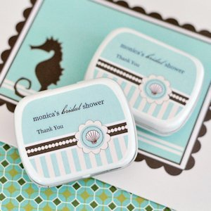 Personalized Beach Themed Bridal Shower Favor Tins image