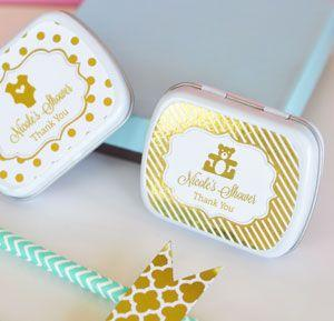 Personalized Metallic Foil Mint Tins - Baby image