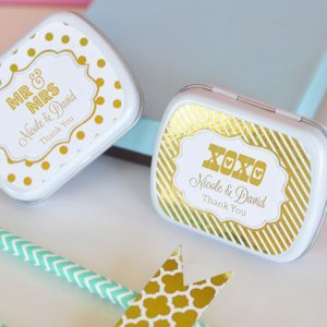 Personalized Metallic Foil Wedding Mint Tins image