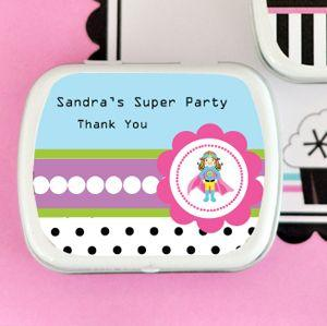 Super Hero Girl Birthday Personalized Mint Tins image