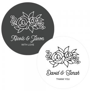 Floral Silhouette Round Labels image