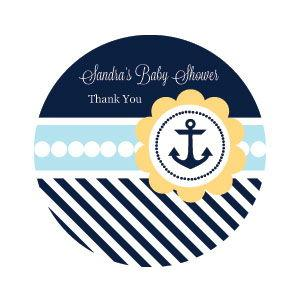 Nautical Baby Shower Personalized Round Labels image