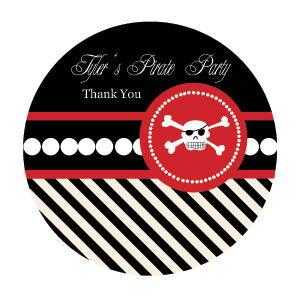 Pirate Party Personalized Round Labels image