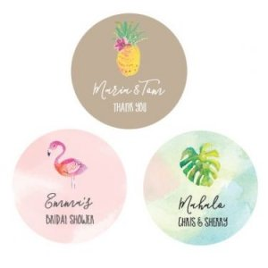 Personalized Tropical Beach Round Labels image
