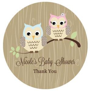 Woodland Owl Personalized Round Labels image