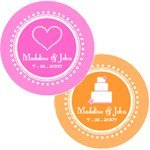 Round Personalized Wedding Labels for Favors (Set of 12)