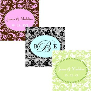 Square Damask Personalized Labels & Tags (Set of 20) image