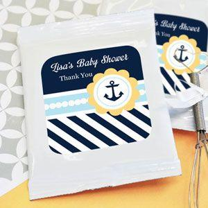 Nautical Baby Shower Personalized Hot Cocoa + Optional Heart image