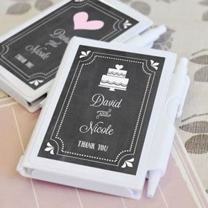 Chalkboard Wedding Personalized Notebook Favors image