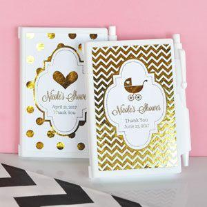 Personalized Metallic Foil Notebook Favors - Baby image