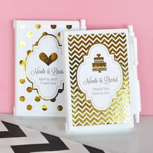 Personalized Metallic Foil Notebook Wedding Favors image