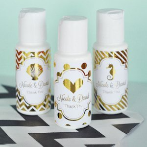Personalized Metallic Foil Wedding Sunscreen Favors image