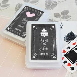 Chalkboard Wedding Personalized Playing Cards image