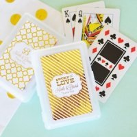 Personalized Metallic Foil Wedding Playing Cards