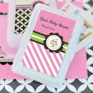 Pink Owl Personalized Playing Cards image
