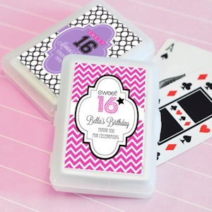 Sweet 16 or 15 Personalized Playing Card Favors image