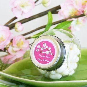 Personalized Cherry Blossom Wedding Favor Candy Jars image
